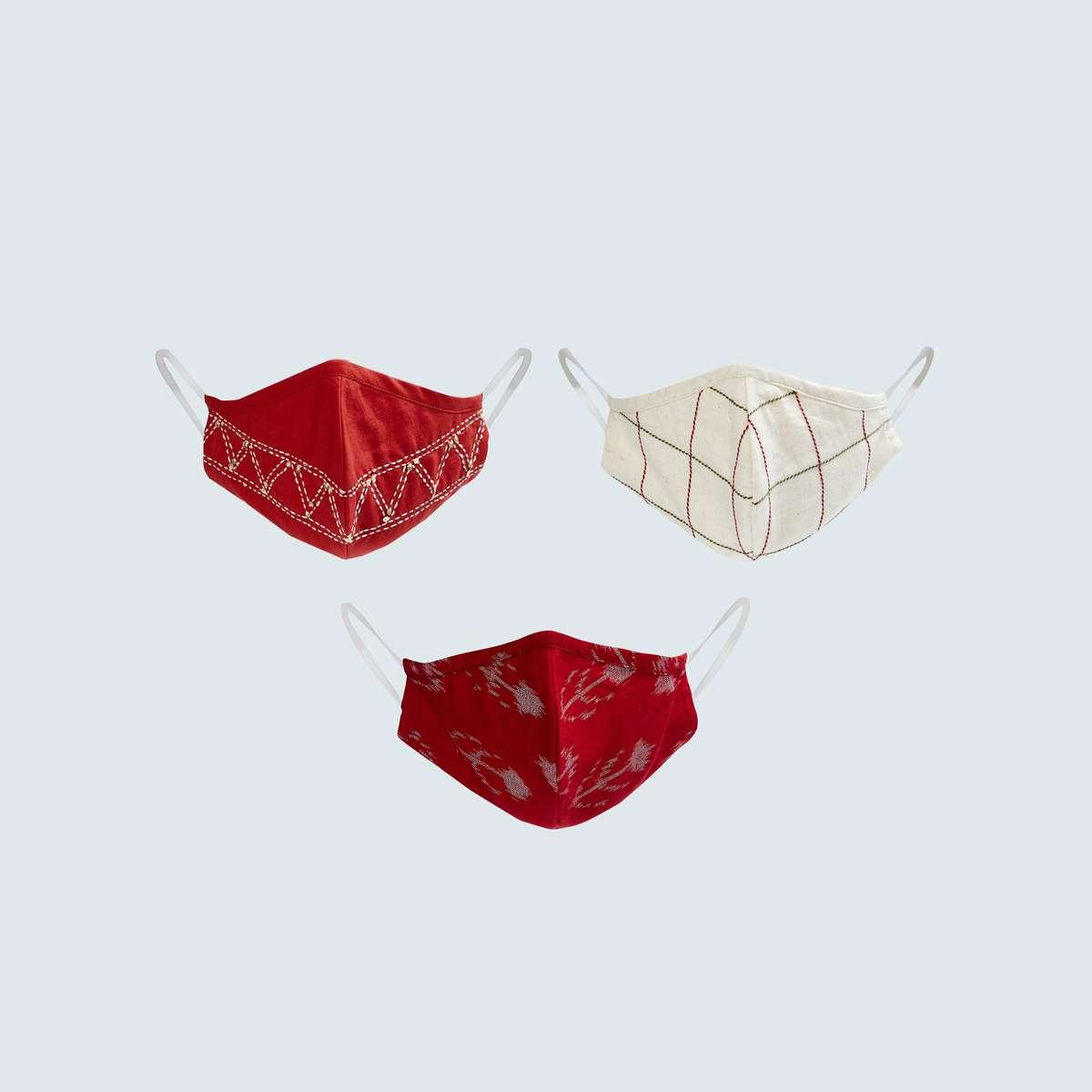 4.MELANGE Women Embellished Reusable Masks - Pack of 2 Pcs.