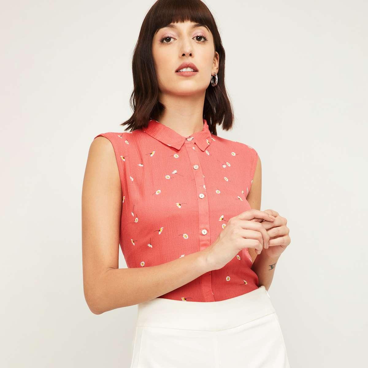 5.BOSSINI Women Printed Sleeveless Shirt