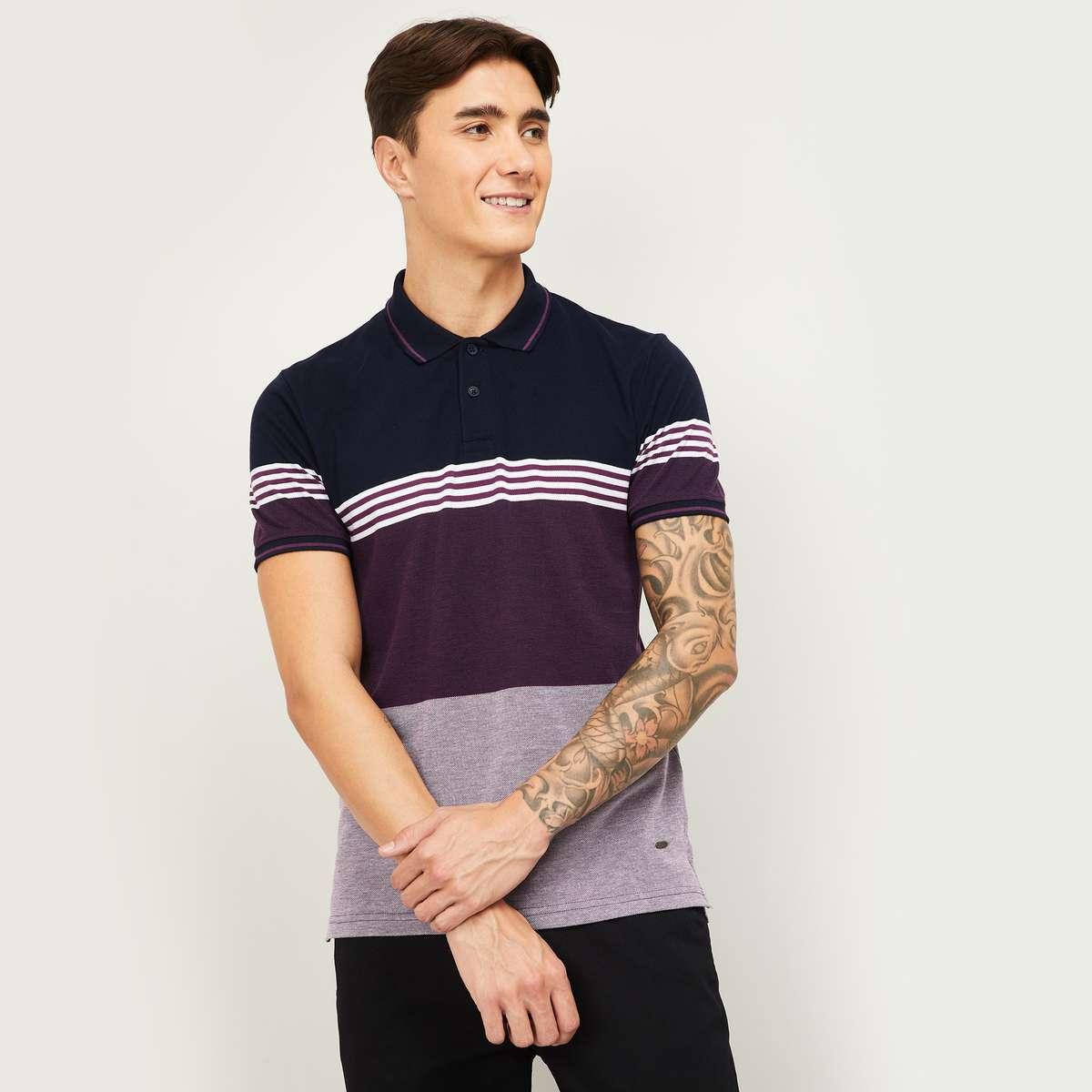 5.CODE Men Striped Regular Fit Polo T-shirt