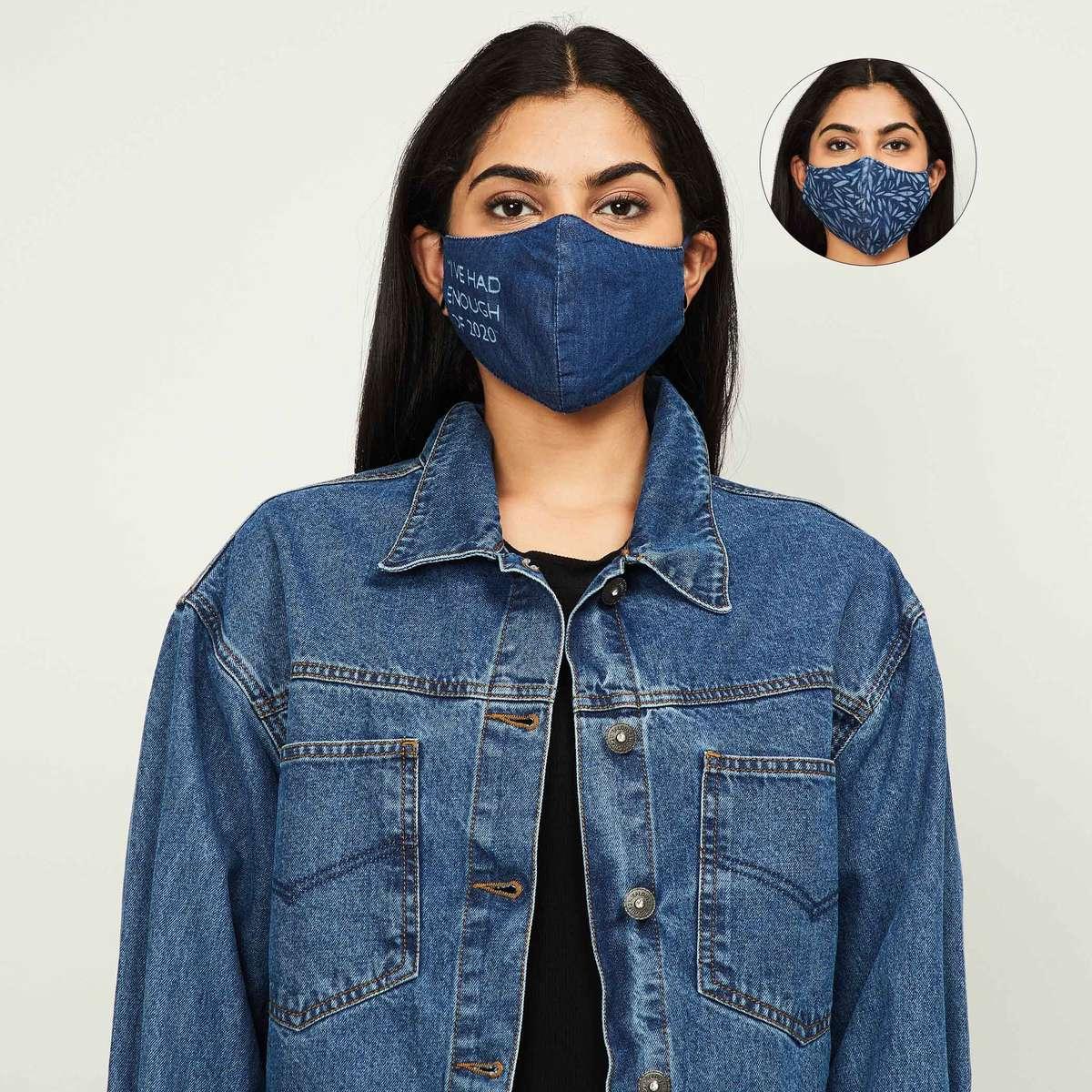 5.GINGER Women Printed Denim Face Mask - Pack of 2