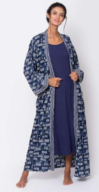 Best lingerie brands - BIBA Women Printed Robe with Solid Night Dress