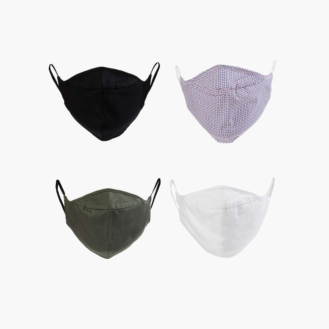 CODE Men Solid Reusable Face Masks - Pack of 4