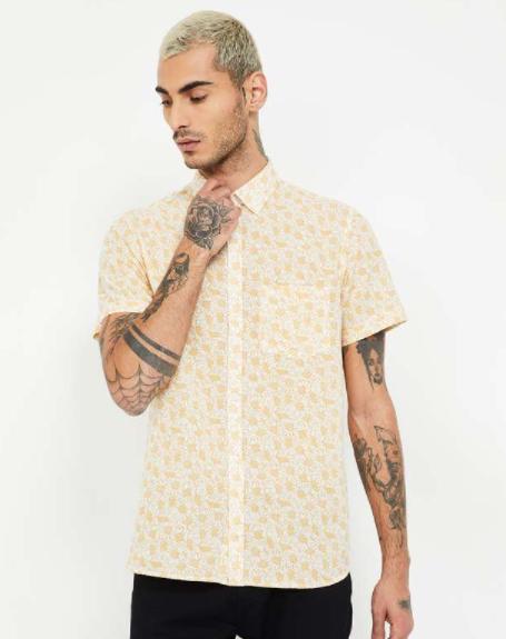 COLORPLUS Printed Short Sleeves Slim Fit Shirt