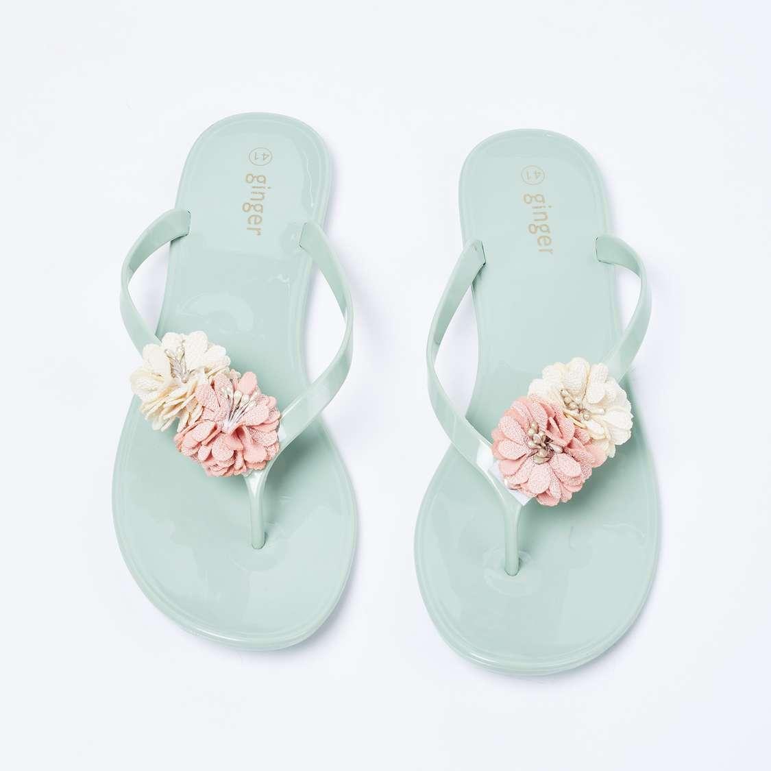 Floral Embellished Slippers