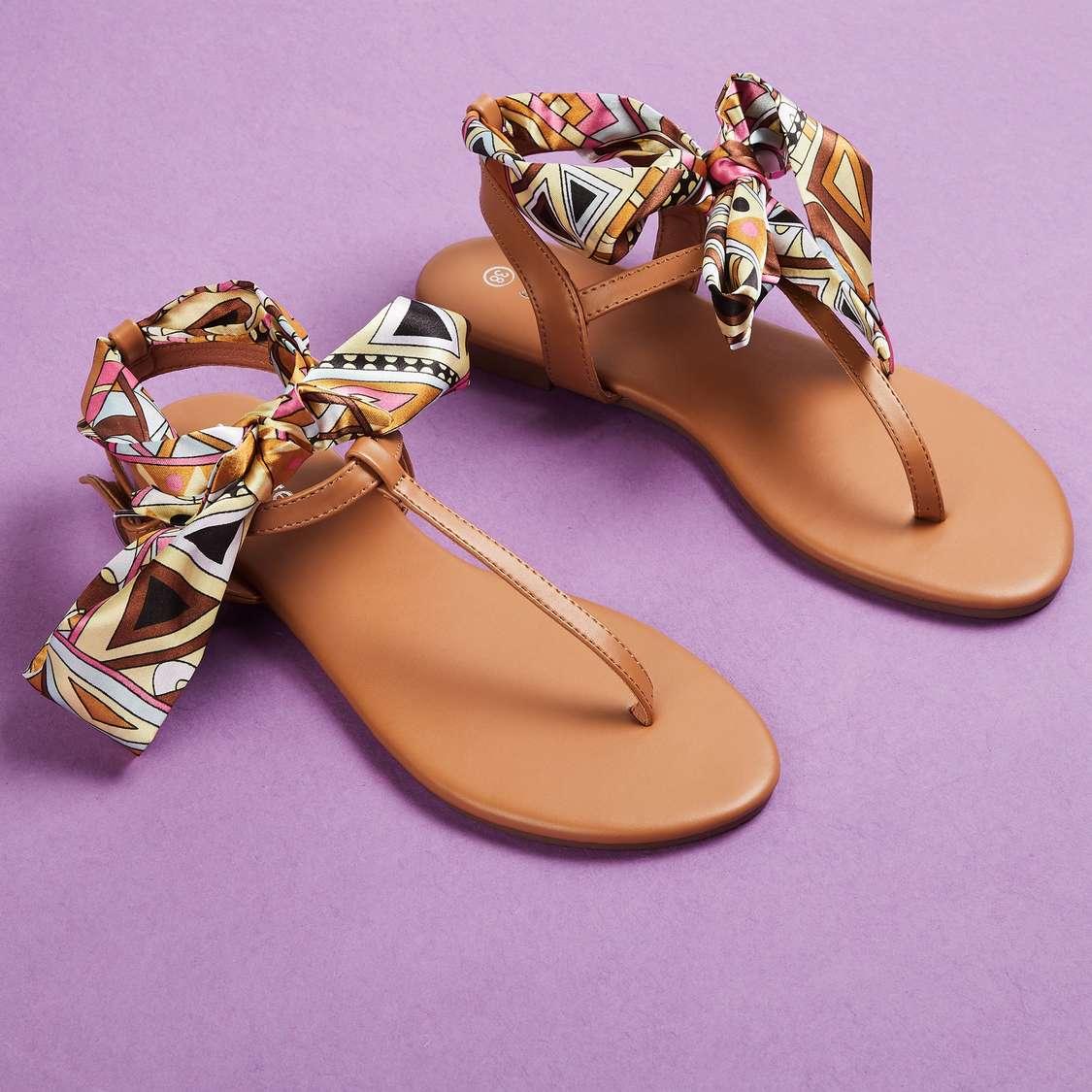 GINGER Footwear Women Printed Tie-Up Flats