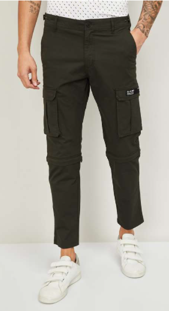 Work from home outfits - BOSSINI Men Solid Slim Tapered Fit Cargo Trousers