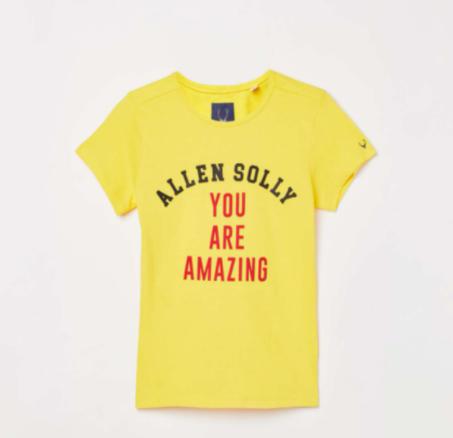 ALLEN SOLLY Girls Typographic Print Crew Neck T-shirt - Top clothing brands in India