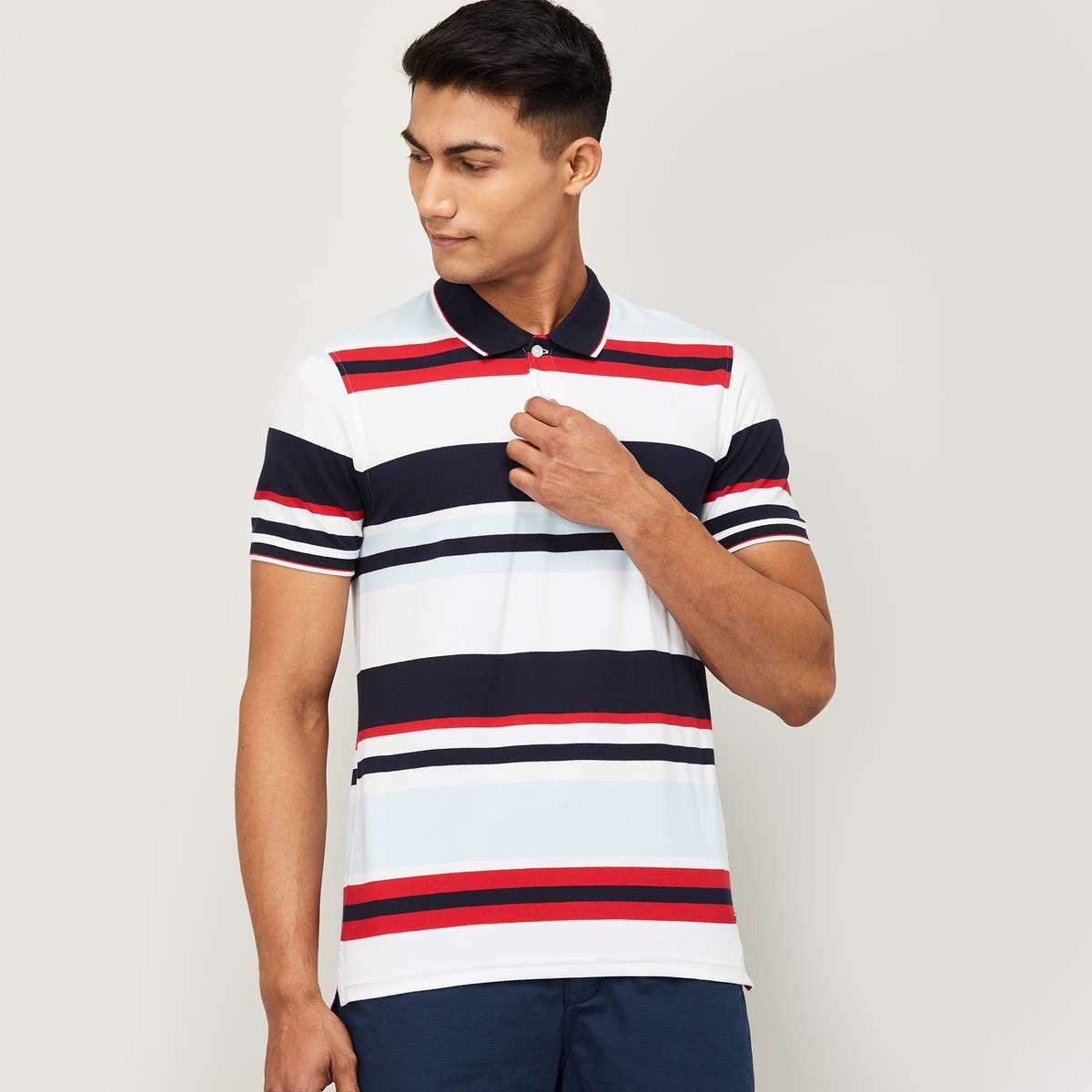 CODE Men Striped Regular Fit Polo T-shirt