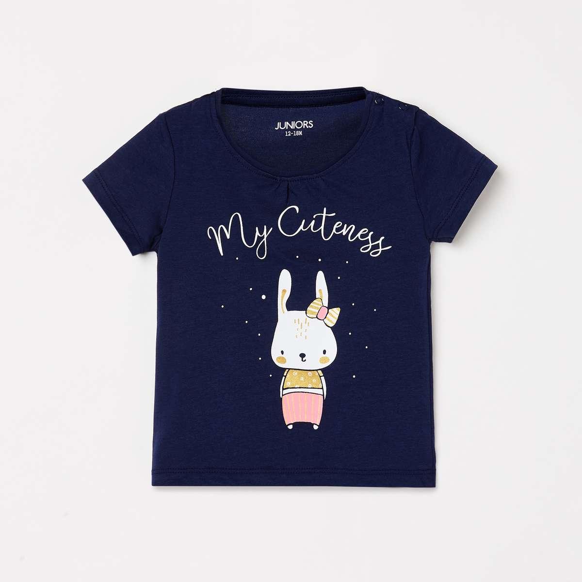 JUNIORS Girls Graphic Print Round Neck T-shirt