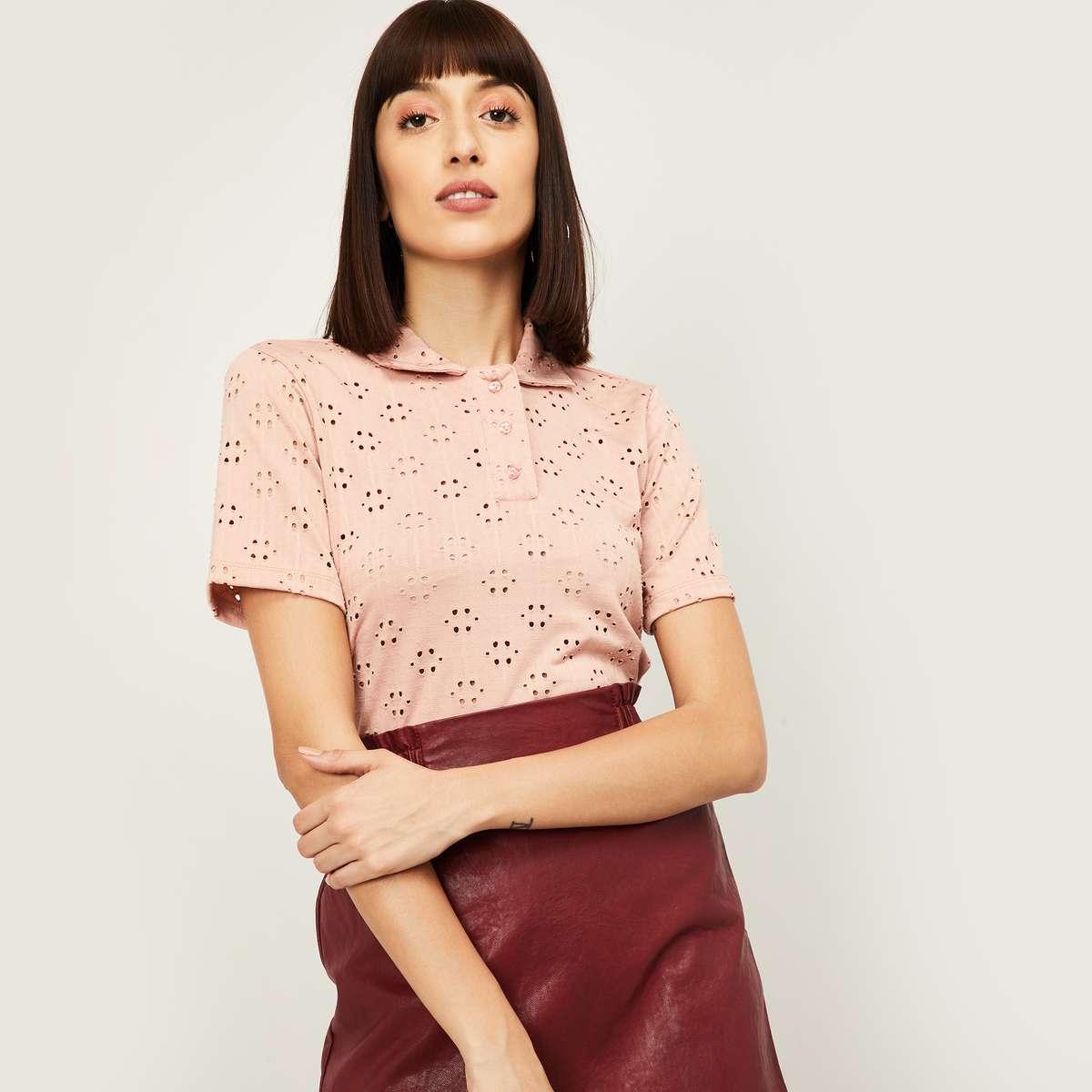 ONLY Women Schiffli Detail Polo T-shirt