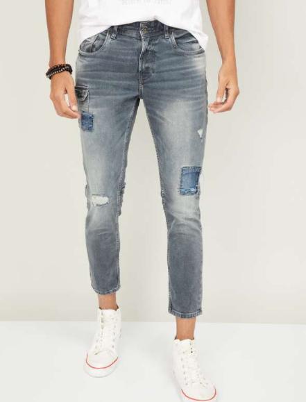 SPYKAR Men Distressed Slim Tapered Jeans - Types of Jeans for Men