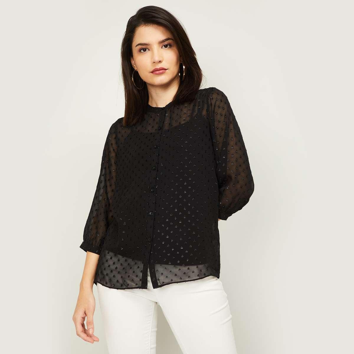 1.BOSSINI Women Embellished Sheer Top