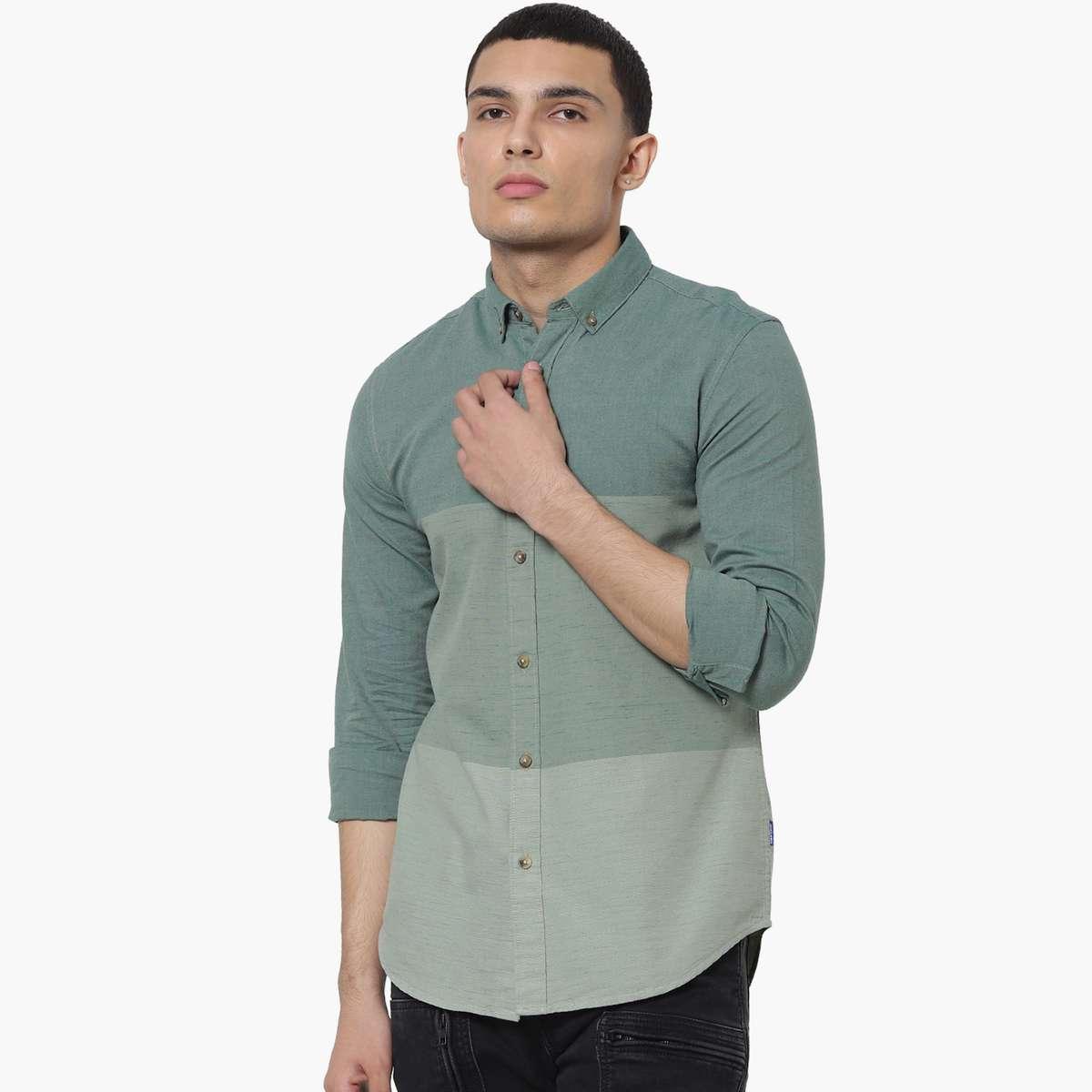 1.JACK & JONES Men Colourblocked Slim Fit Casual Shirt