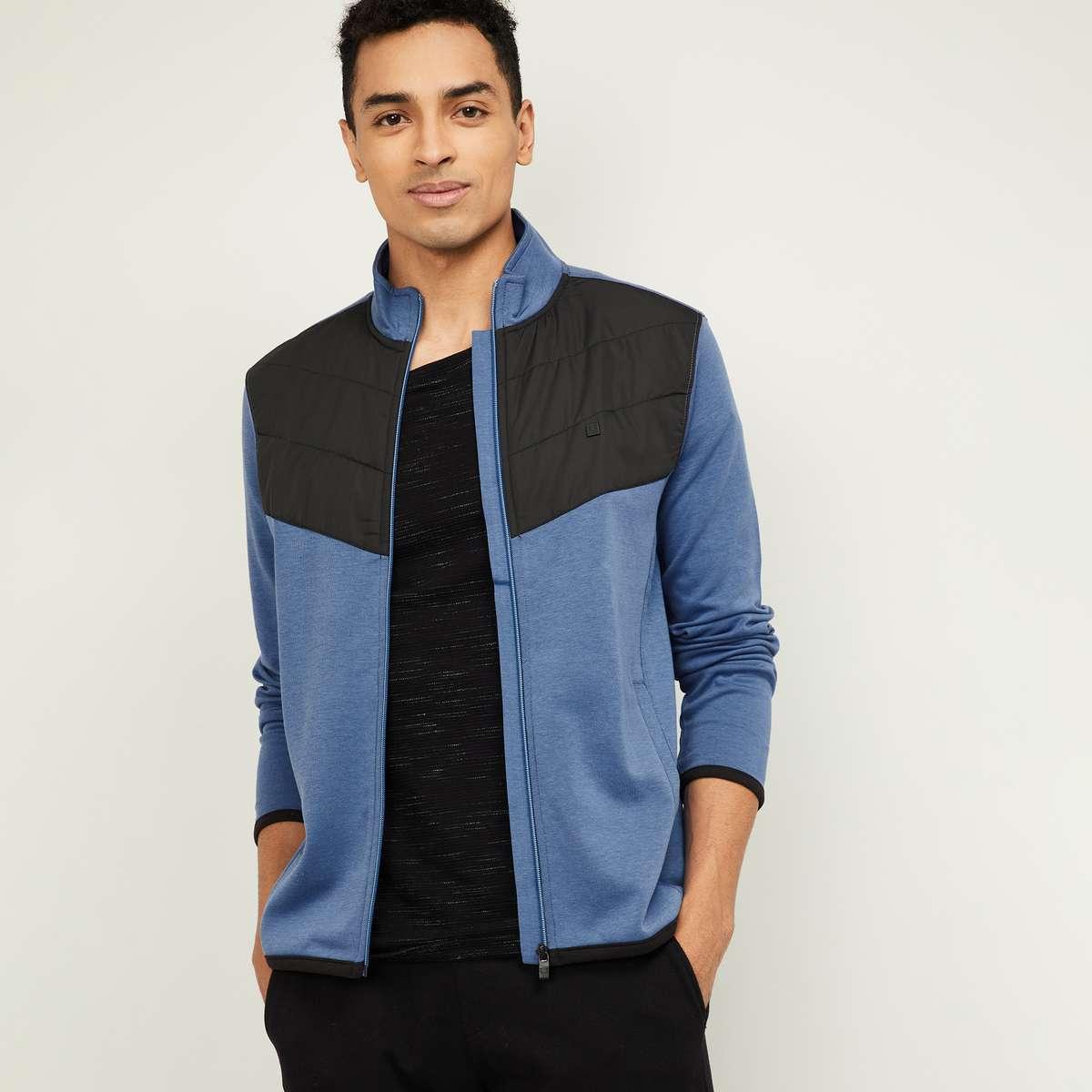 10.ALLEN SOLLY Men Colourblock Zip-Front Sweatshirt with Insert Pockets