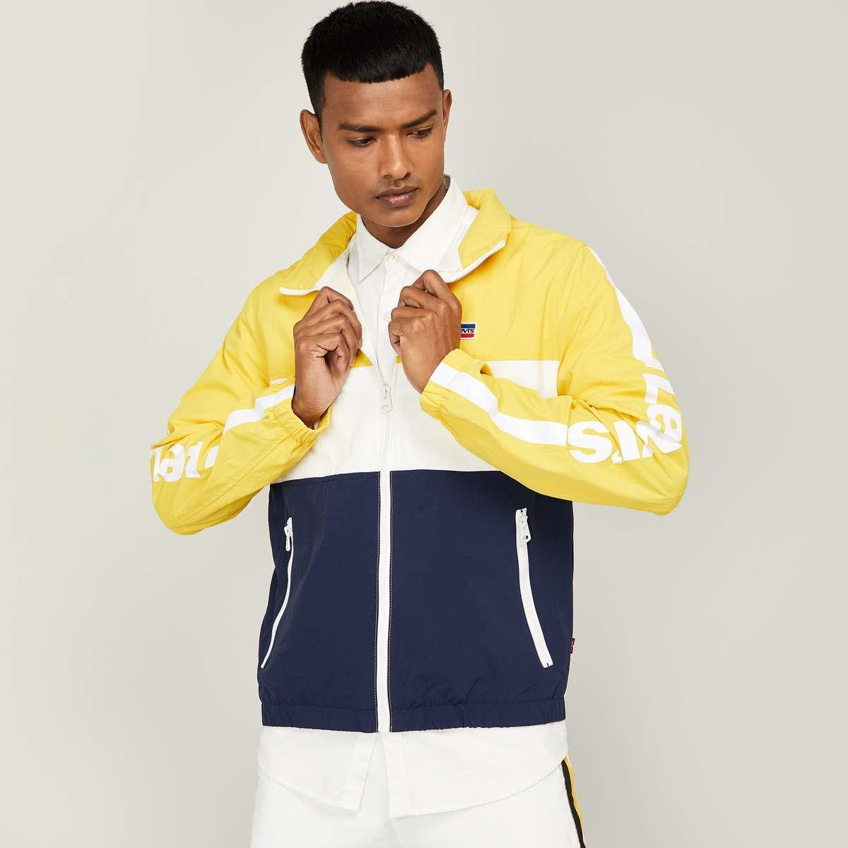 11.LEVI'S Men Colourblock Hooded Jacket