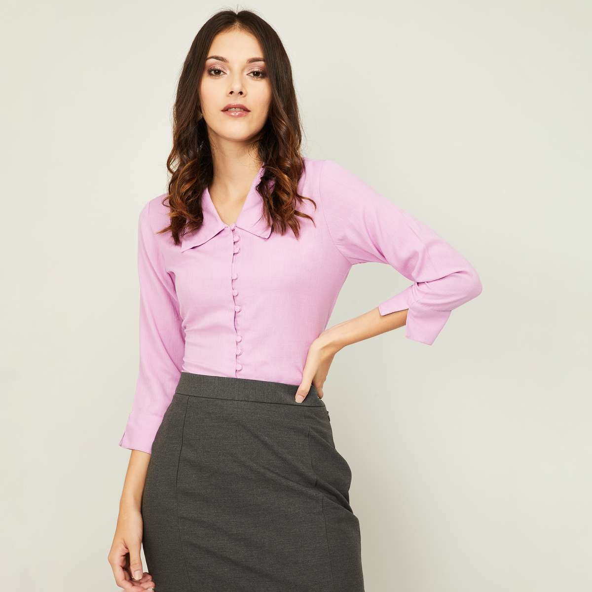 2.AND Women Solid Three-Quarter Sleeves Shirt