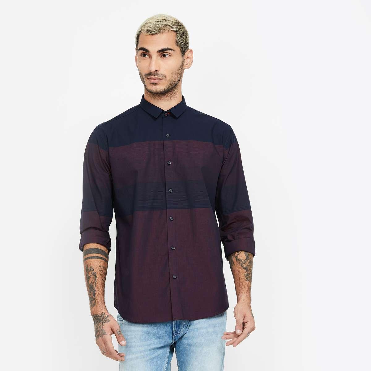 2.V DOT Colourblocked Slim Fit Casual Shirt