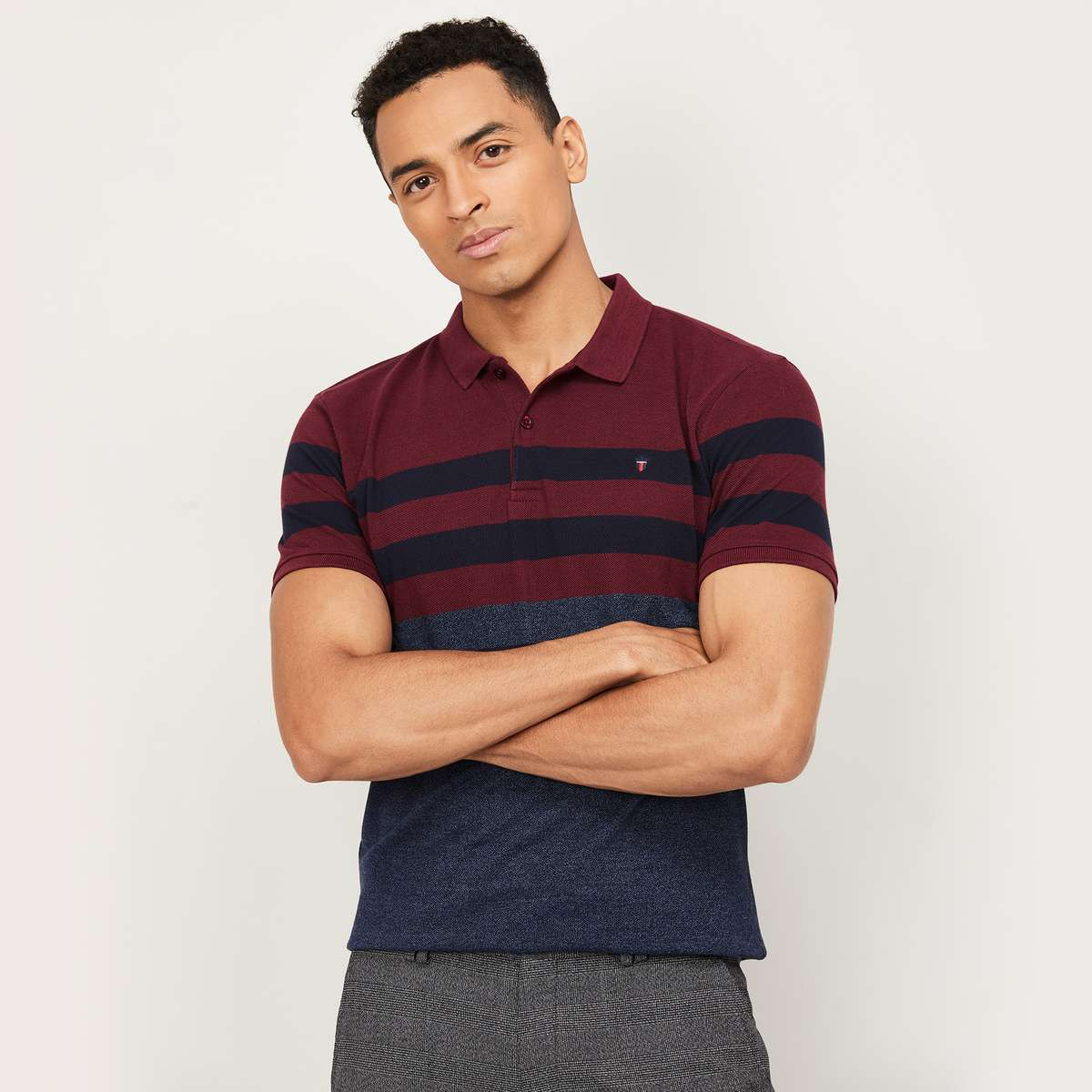 3.LP SPORT Men Colourblocked Polo T-Shirt