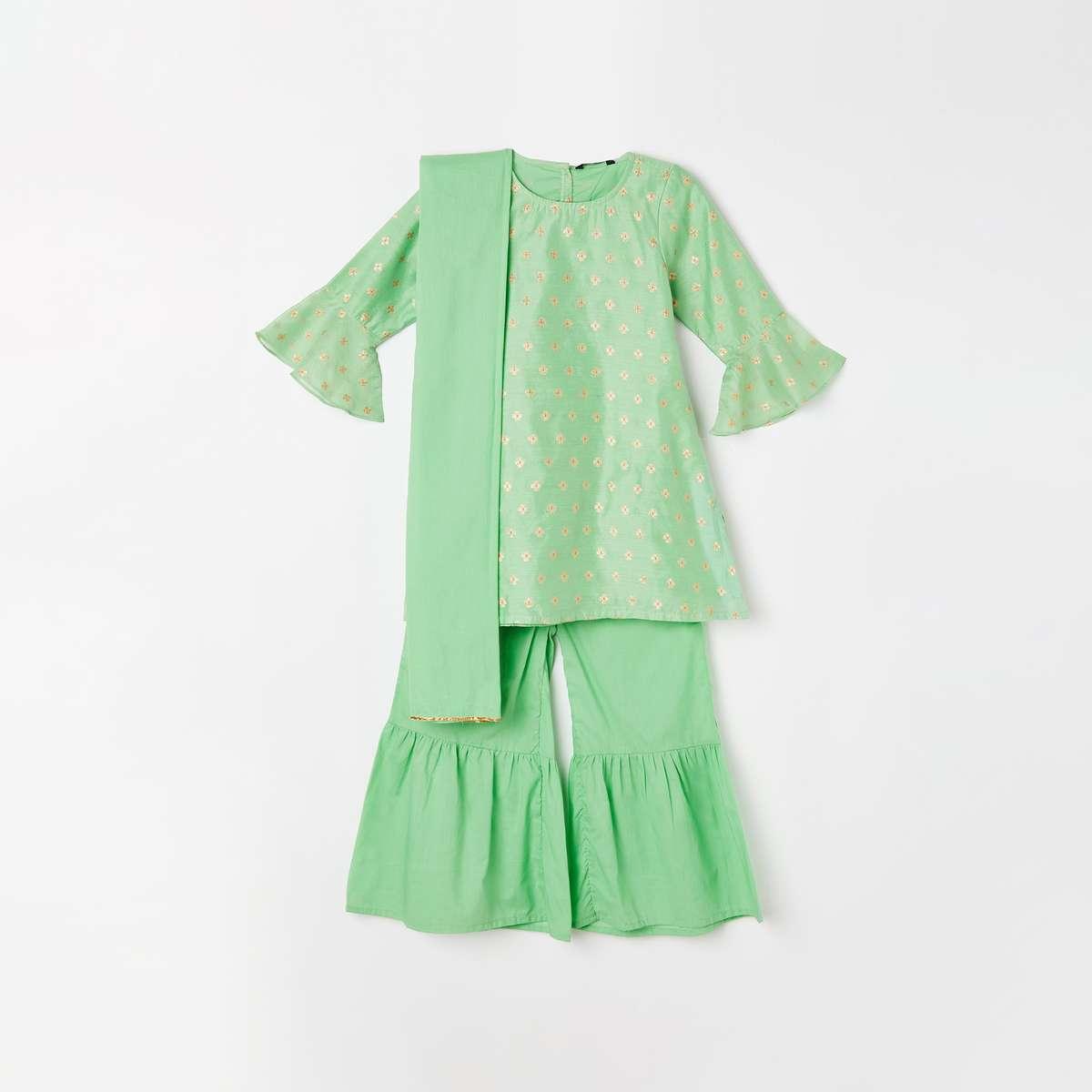 3.MELANGE Girls Embroidered Kurta with Solid Sharara Pants and Dupatta