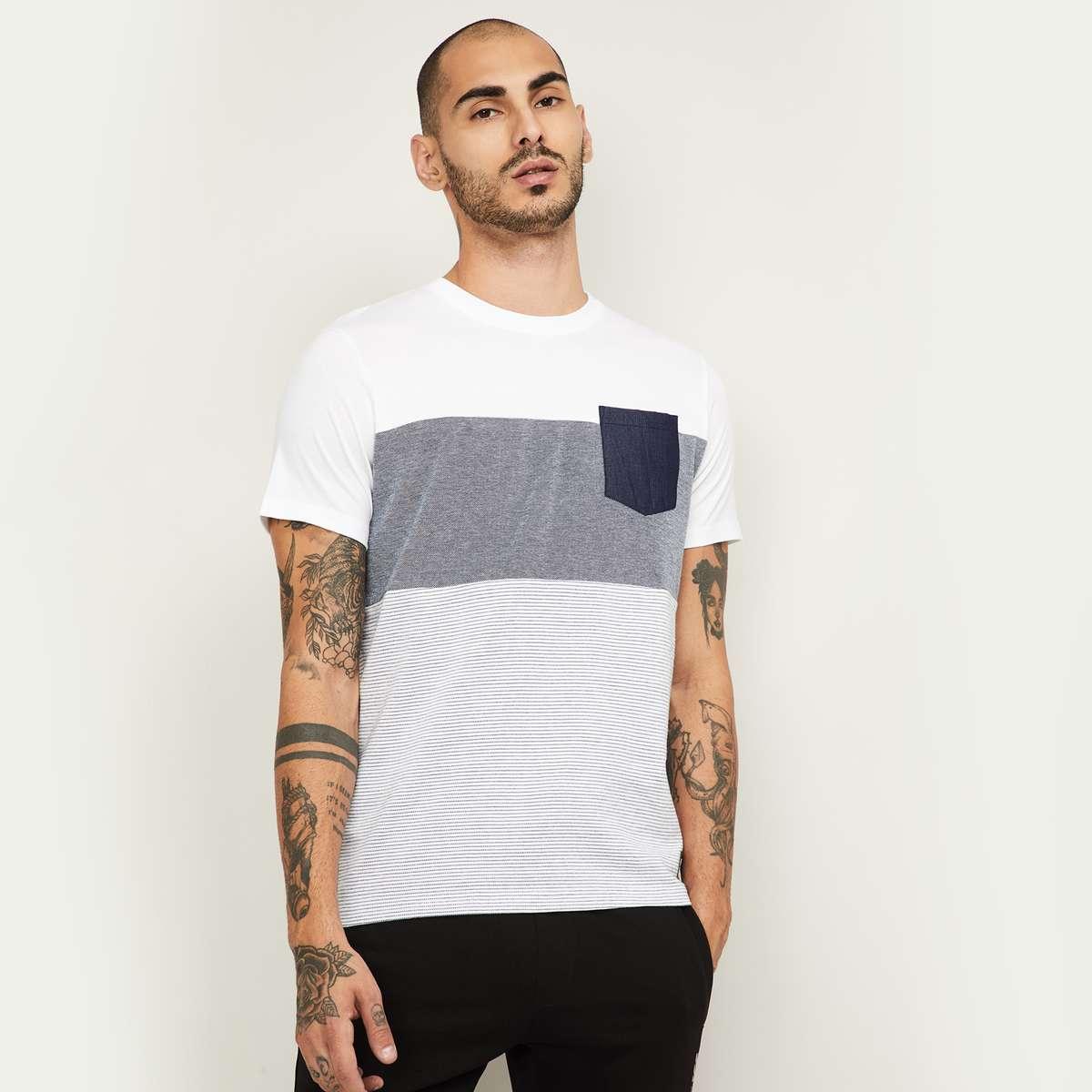4.BOSSINI Men Colourblocked Regular Fit Crew Neck T-shirt