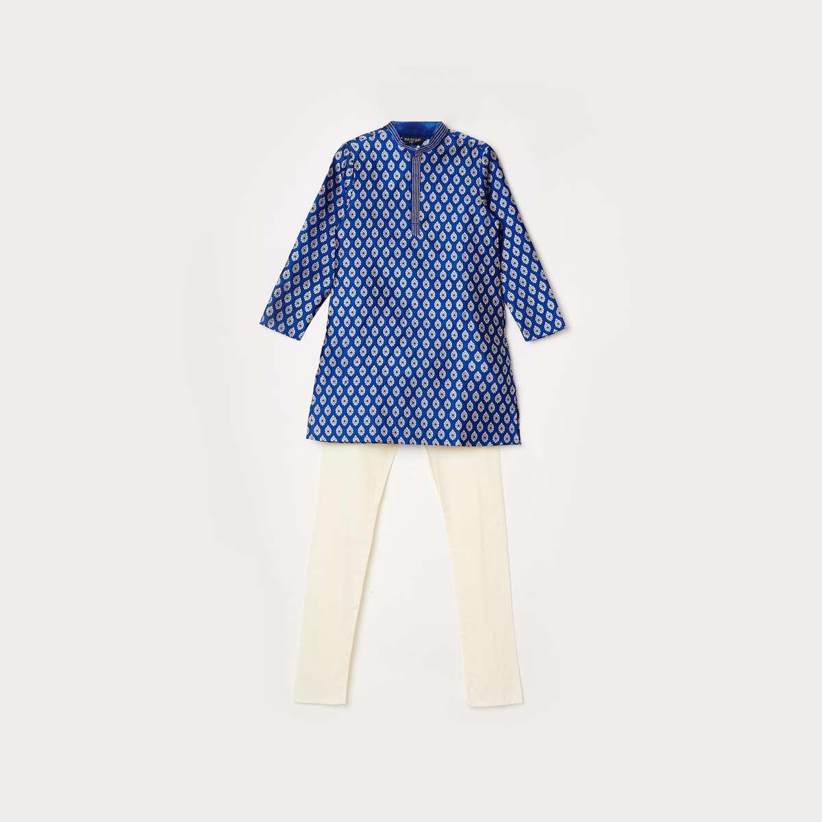 4.MELANGE Printed Kurta with Solid Pyjamas
