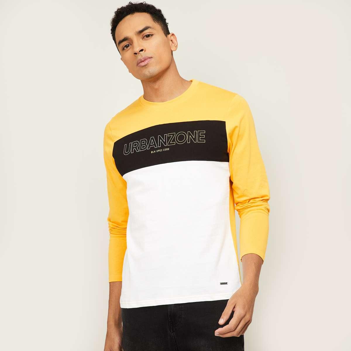 5.BOSSINI Men Colourblocked Crew Neck T-Shirt