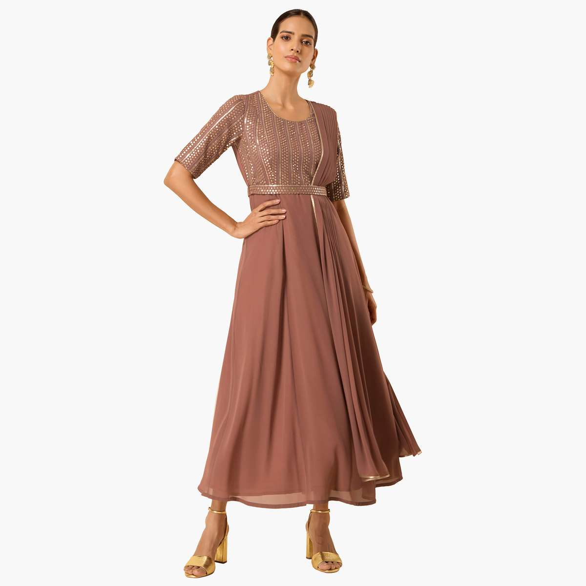 5.INDYA Women Embellished Maxi Tunic with Attached Dupatta and Belt