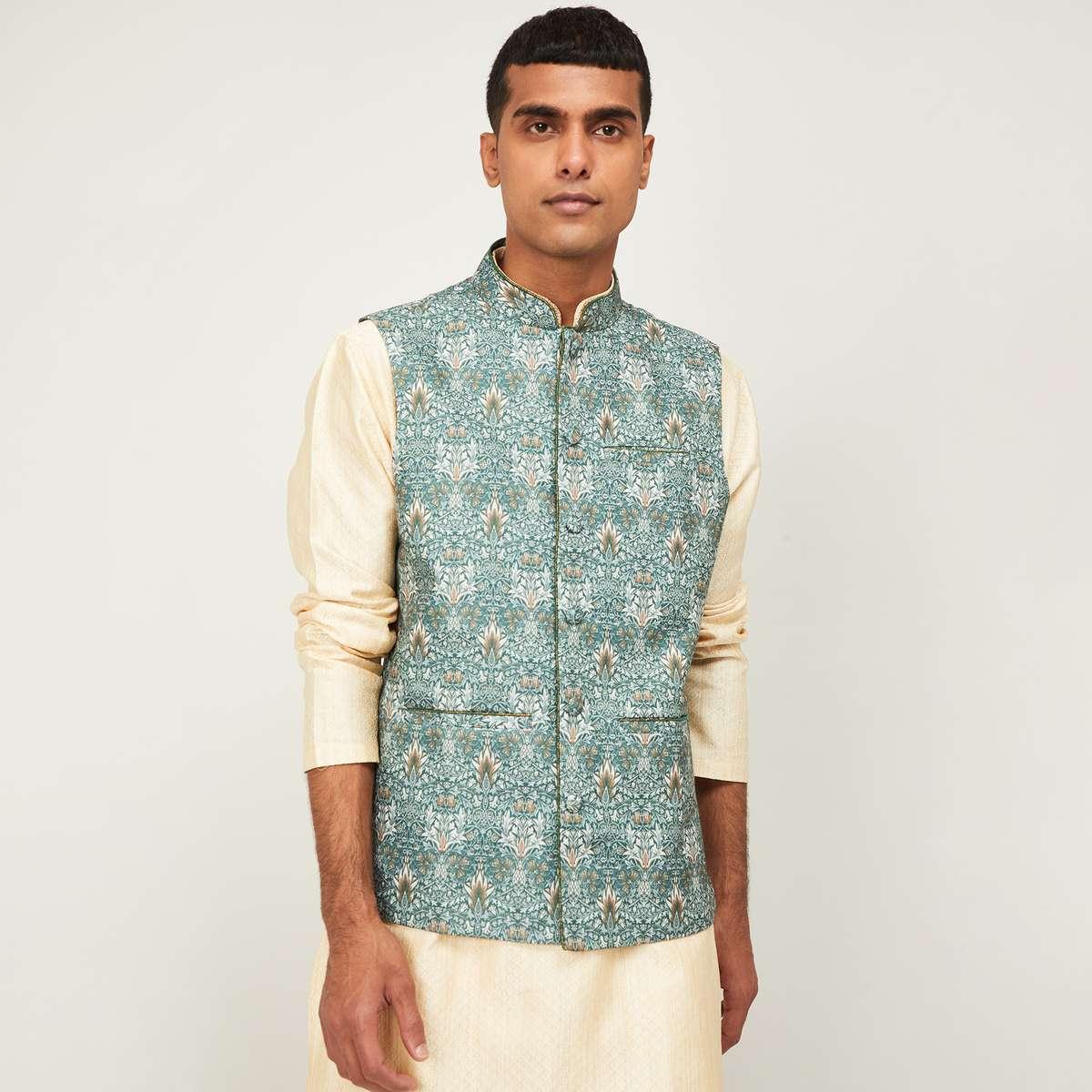 5.MELANGE Men Printed Regular Fit Nehru Jacket