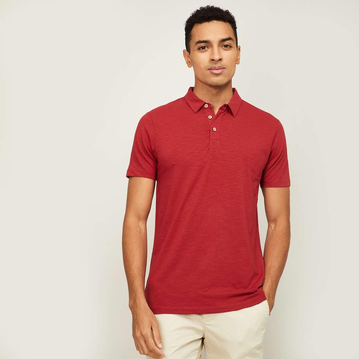 6.FORCA Men Solid Regular Fit Polo T-shirt