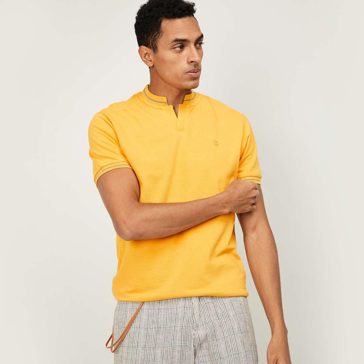 7.BOSSINI Men Solid Short Sleeves Polo Collar T-shirt