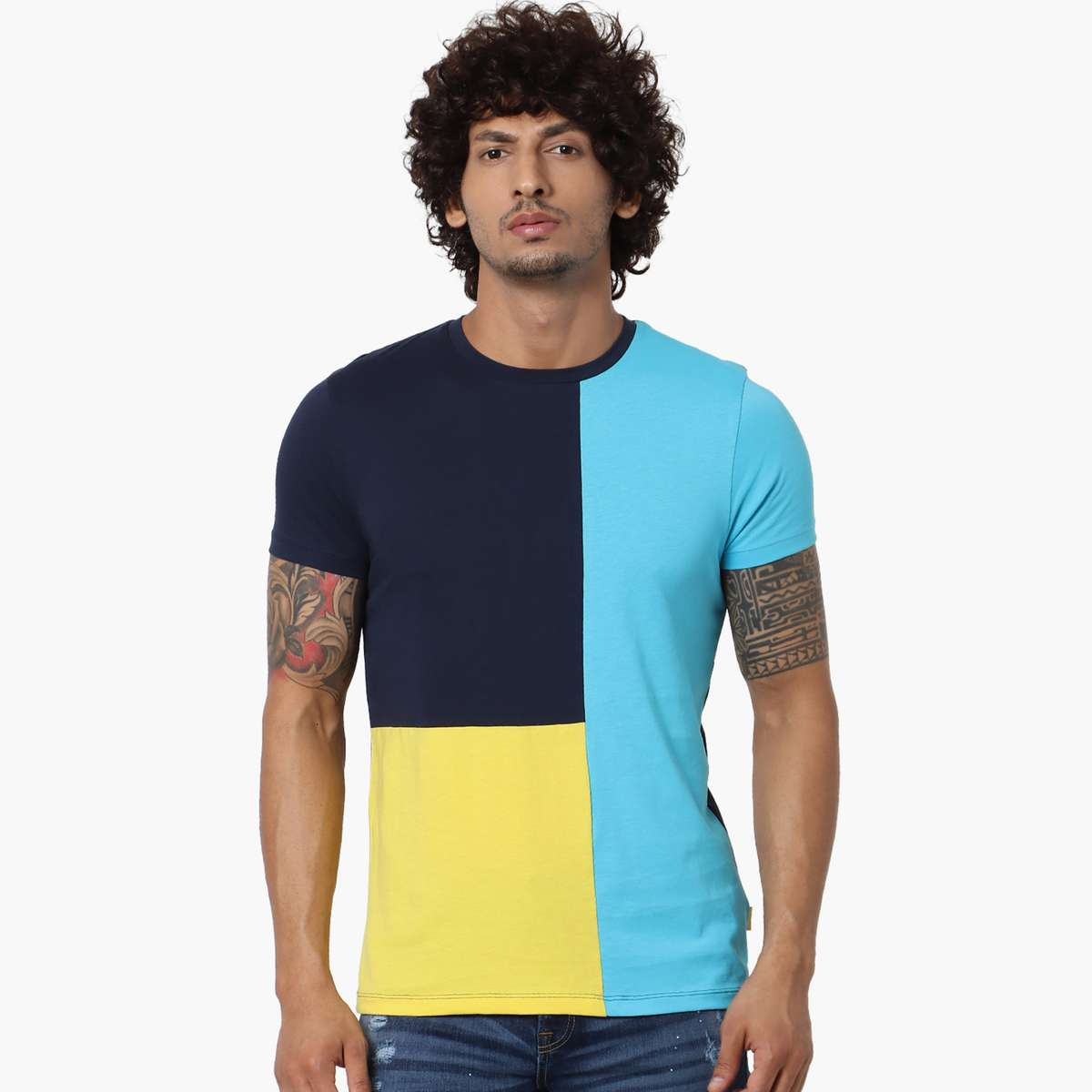 7.JACK & JONES Men Colourblock Regular Fit Crew Neck T-shirt