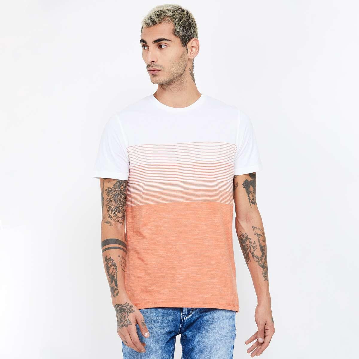 8.CELIO Colourblocked Slim Fit Crew Neck T-shirt