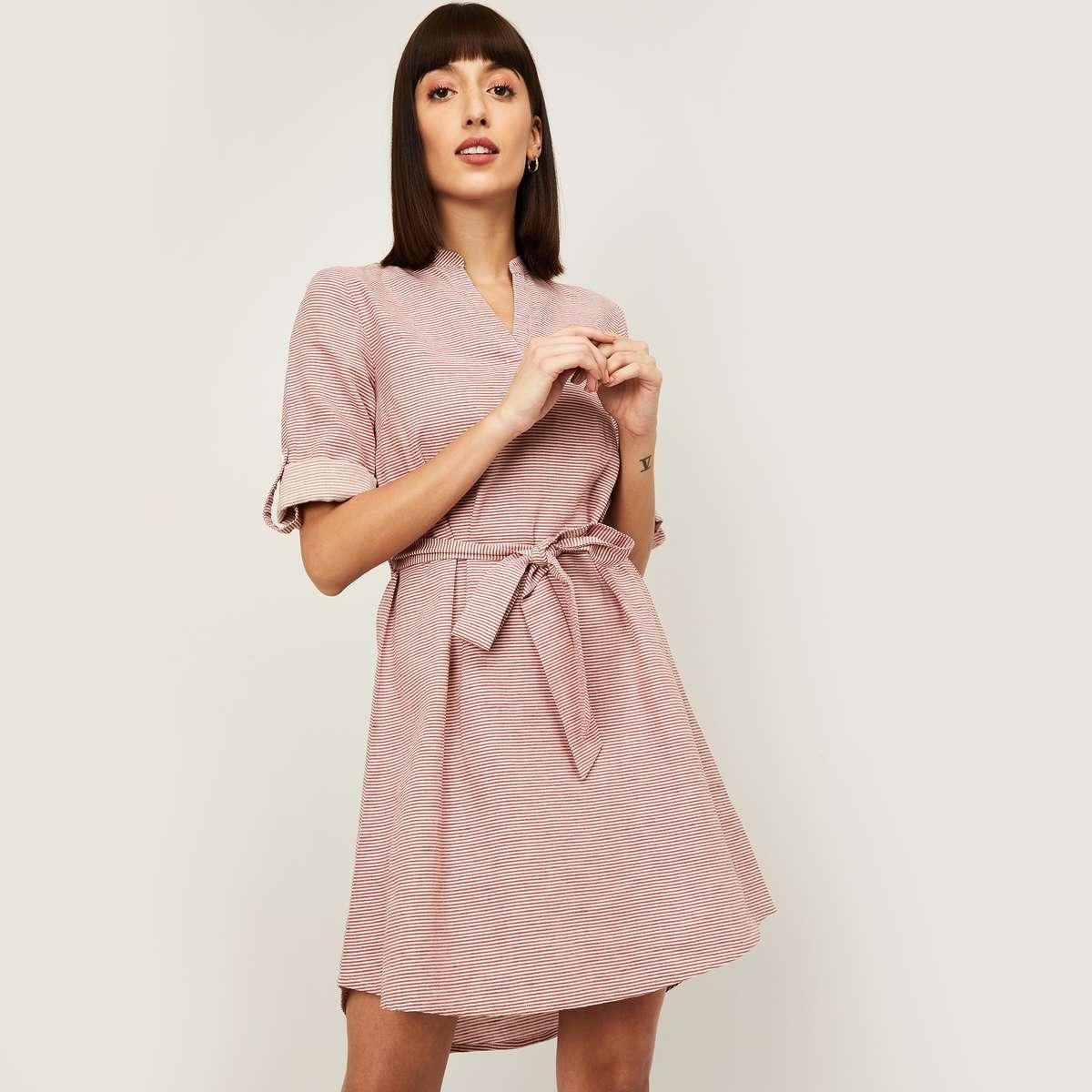 8.VAN HEUSEN Women Striped Mini A-Line Dress