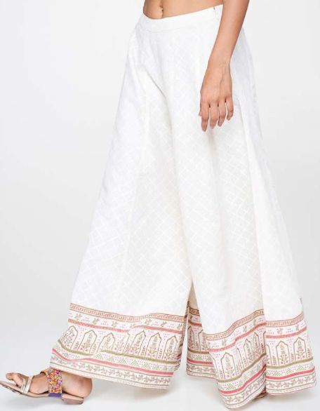 GLOBAL DESI Printed Palazzo Pants - types of bottom wear for women