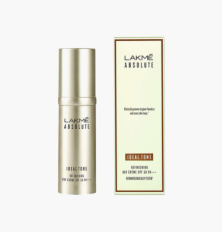LAKME Absolute Ideal Tone Refinishing Day Cream SPF 50 PA +++ - best skincare brands in india
