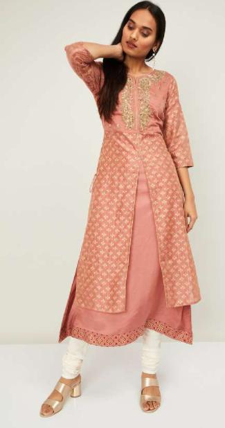 MELANGE Women Printed Layered Kurta - Best Ethnic Wear Brands