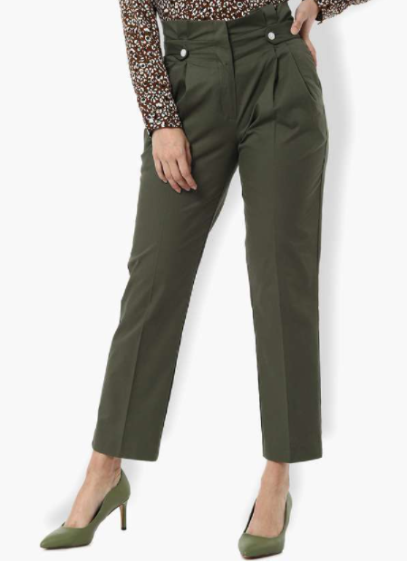 VAN HEUSEN Solid Pleated Trousers - types of bottom wear for women