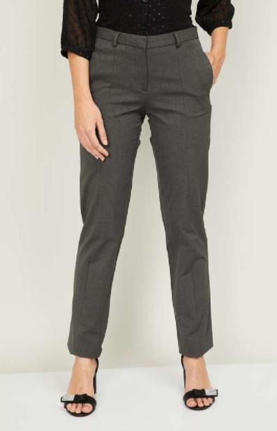 VAN HEUSEN Women Solid Trousers - types of bottom wear for women