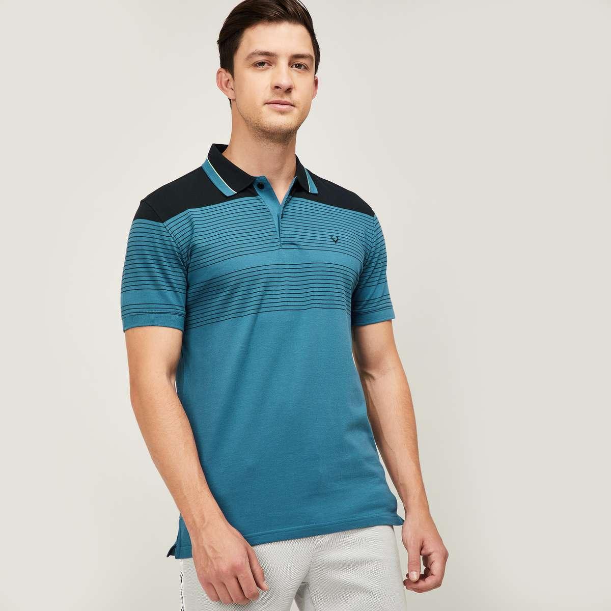 1.ALLEN SOLLY Men Striped Regular Fit Polo T-shirt