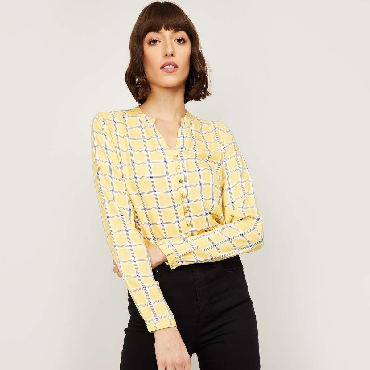 1.ALLEN SOLLY Women Checked Woven Shirt