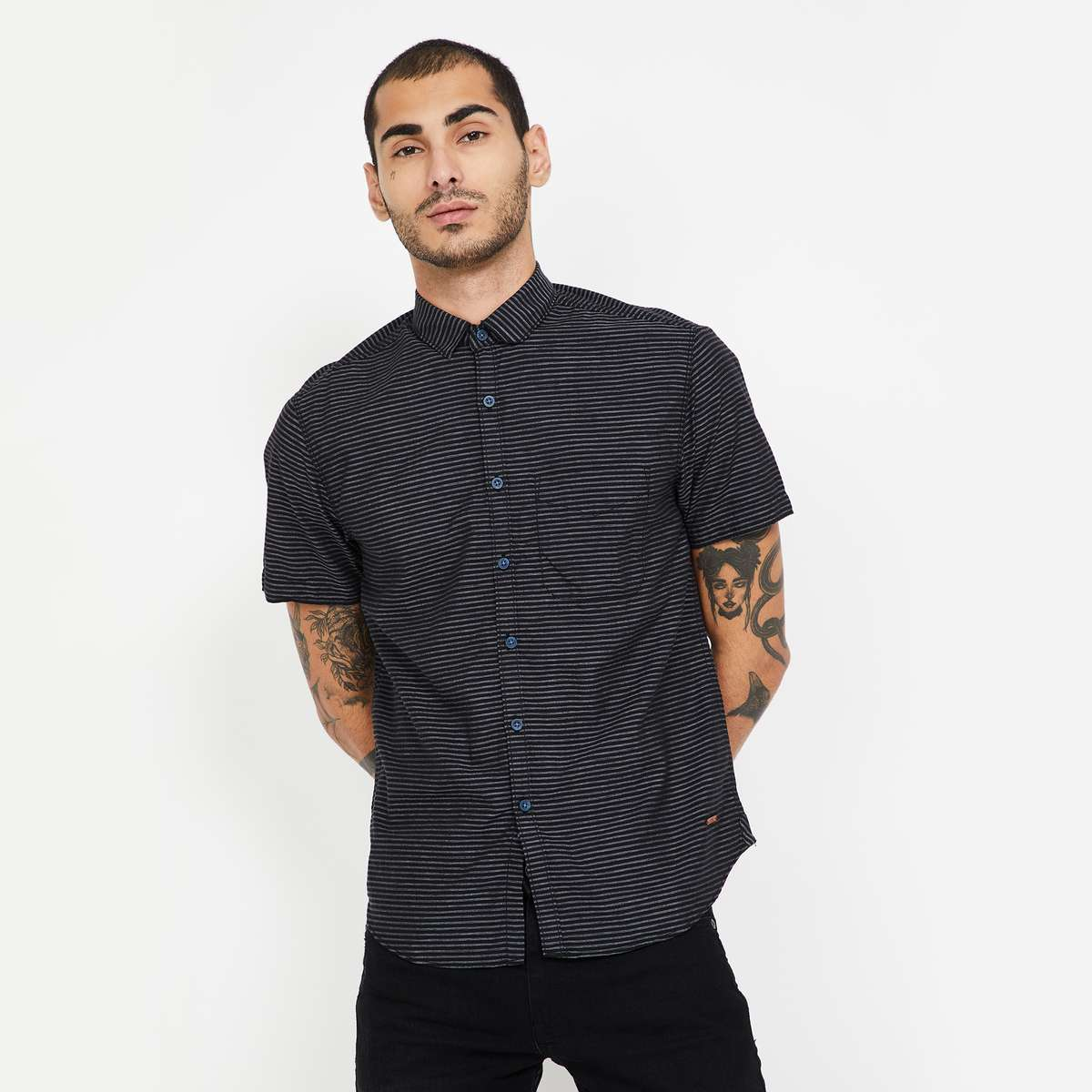 1.CODE Striped Slim Fit Casual Shirt