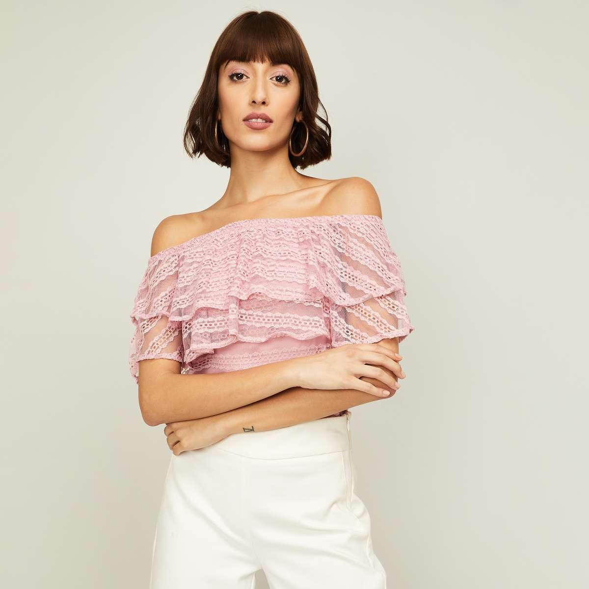 1.CODE Women Textured Off-Shoulder Lace Top