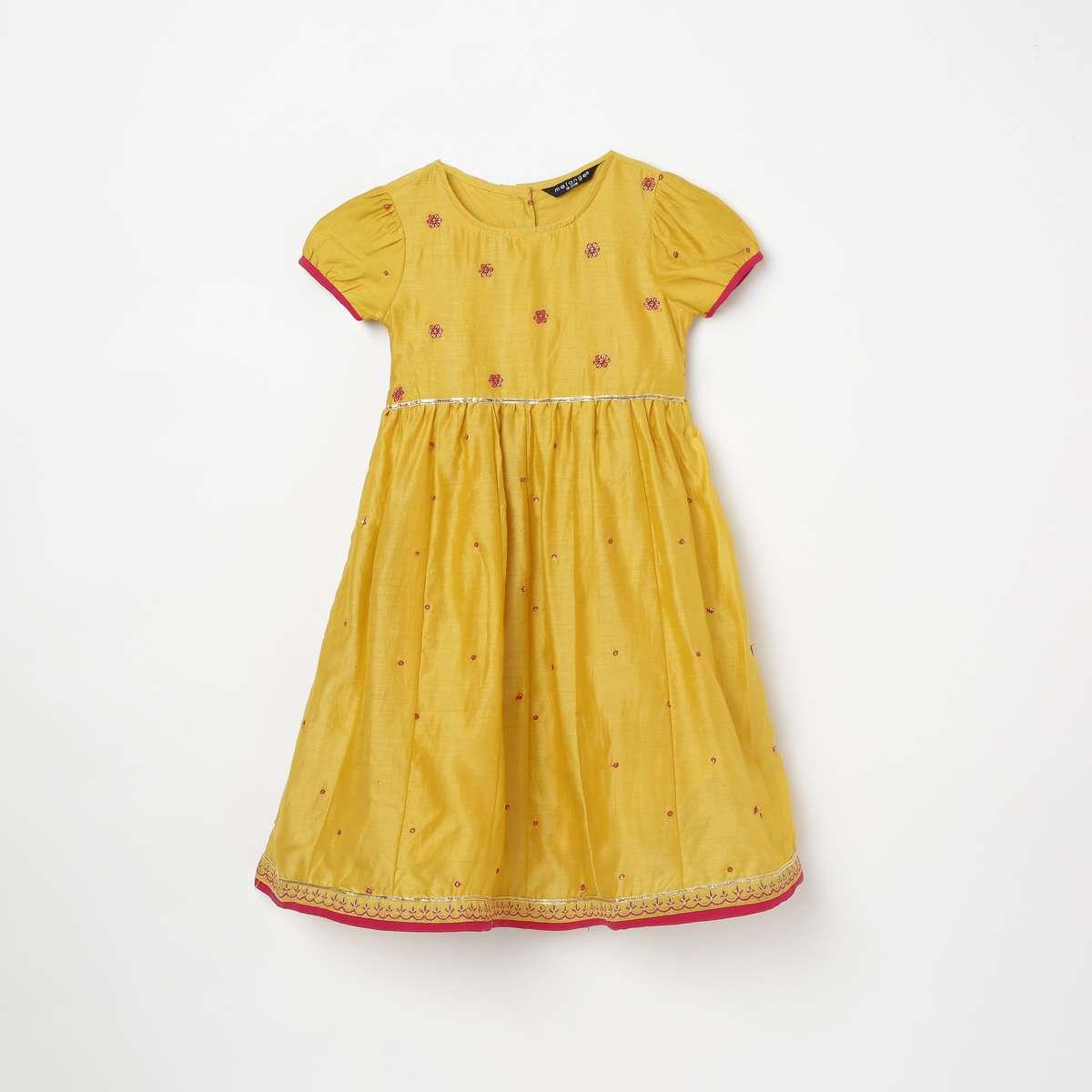 1.MELANGE Girls Embroidered Ethnic A-Line Dress