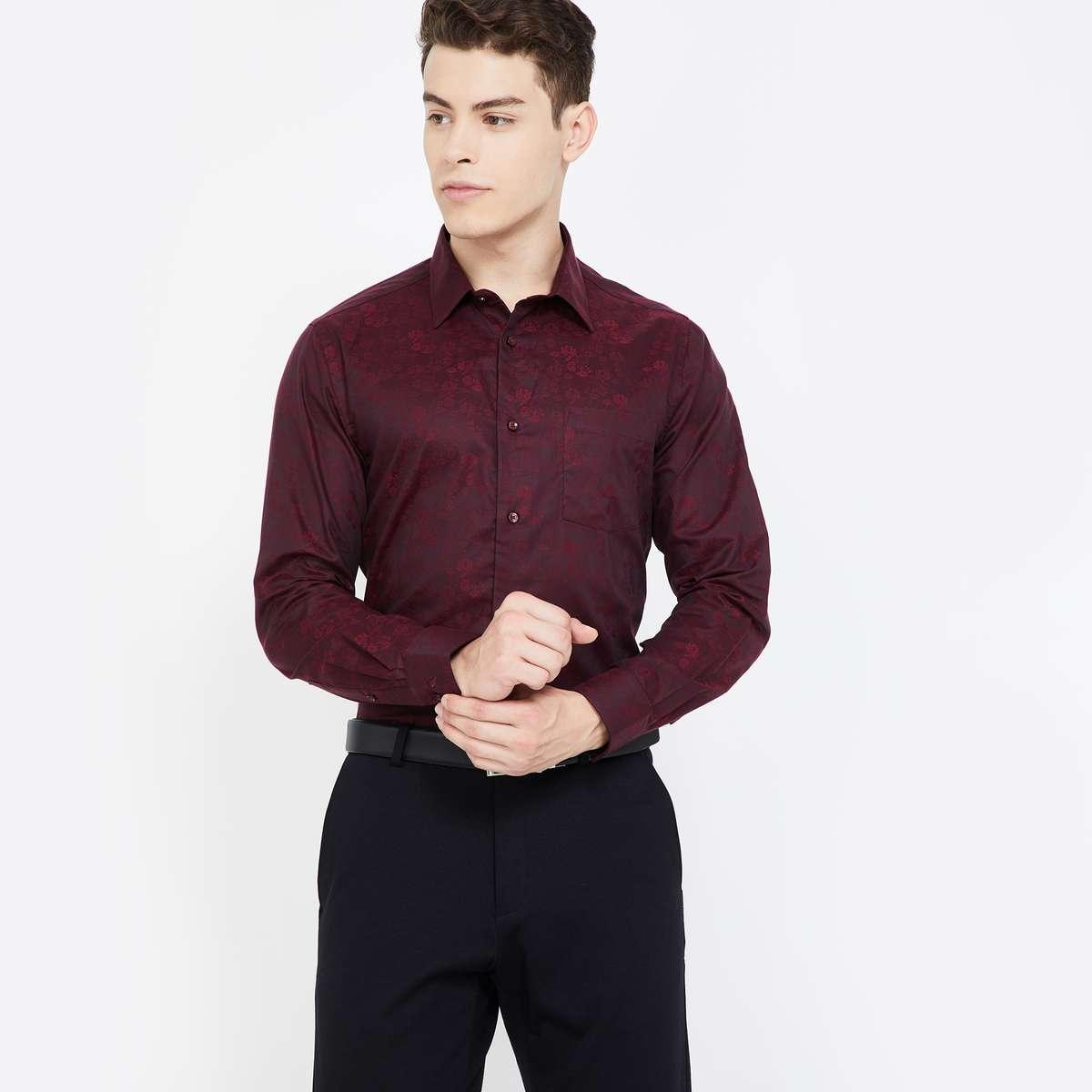 2.BLACKBERRYS Textured Full Sleeves Slim Fit Formal Shirt