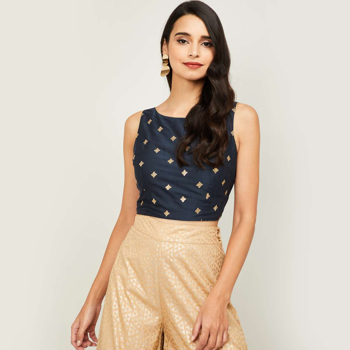 2.MELANGE Women Embroidered Sleeveless Crop Top