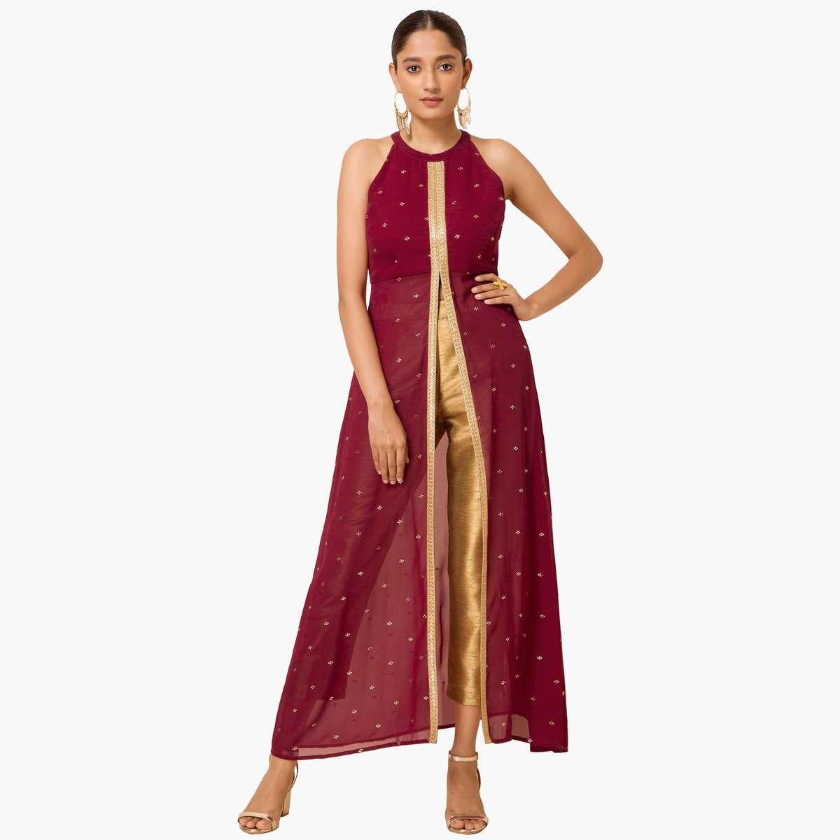 3.INDYA Women Embellished High Slit Tunic