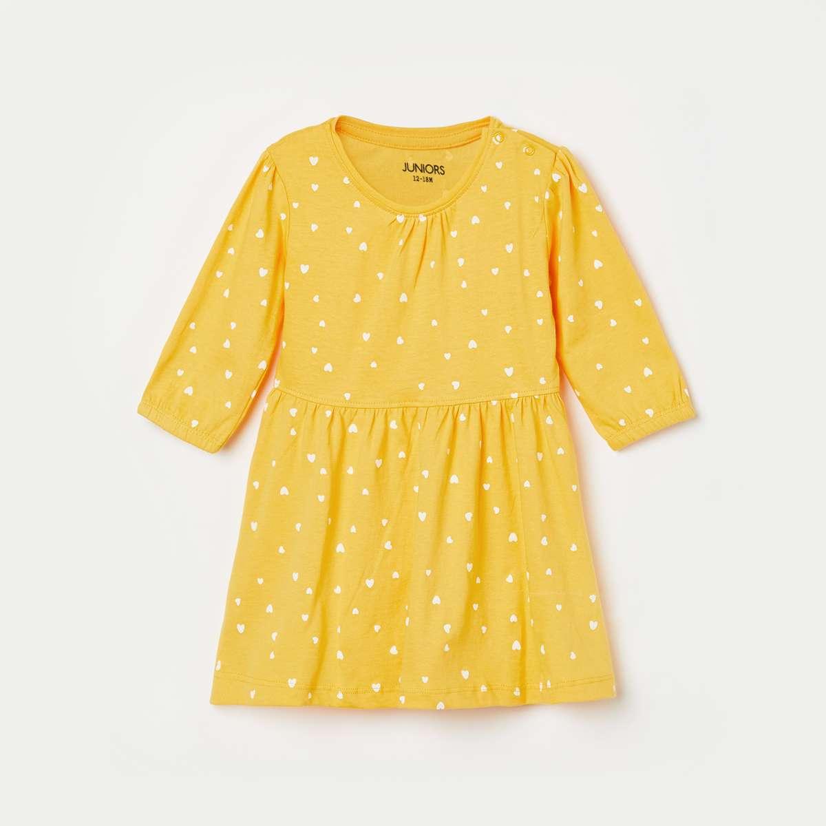 3.JUNIORS Girls Printed Round Neck A-line Dress