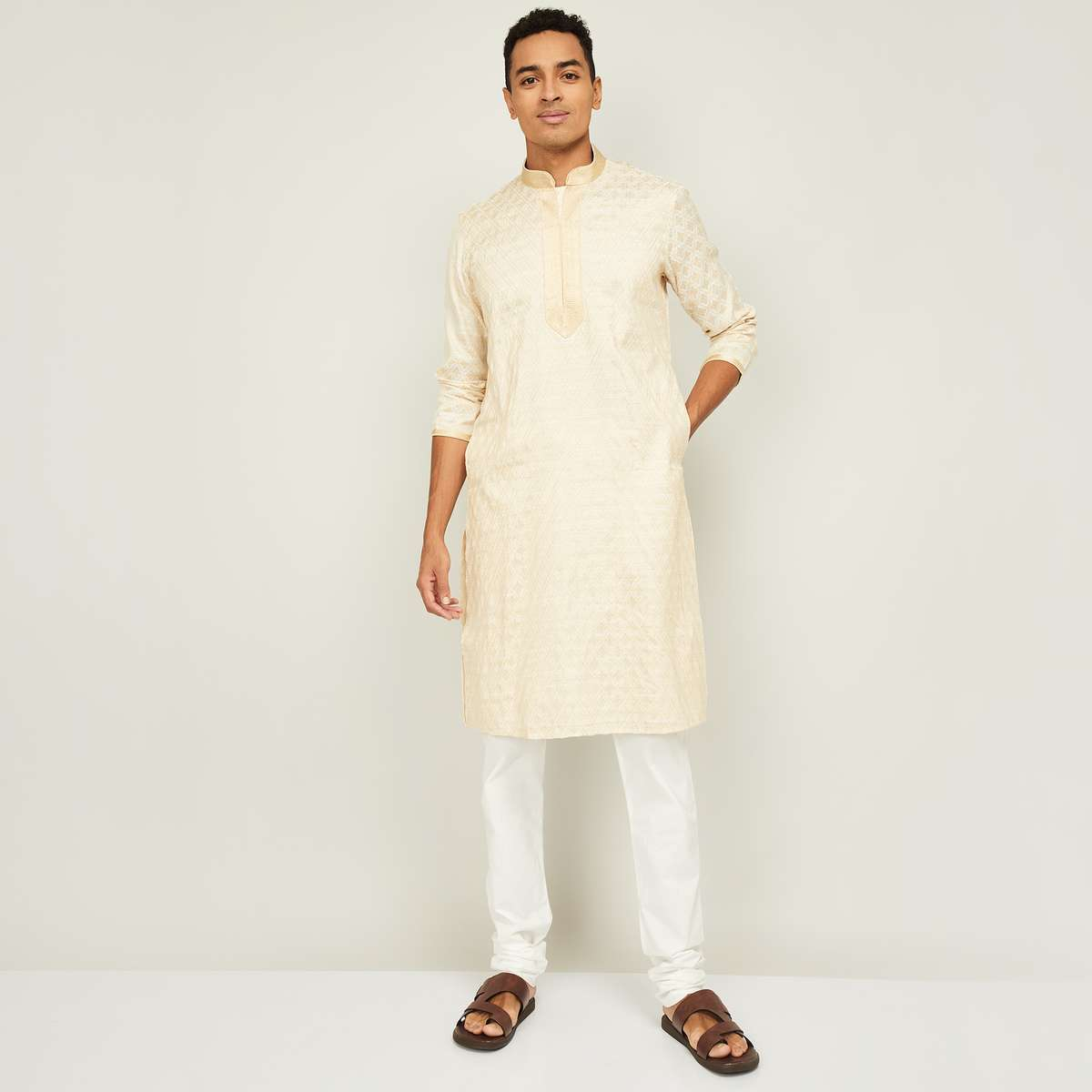 3.MELANGE Men Printed Kurta with Solid Pyjamas