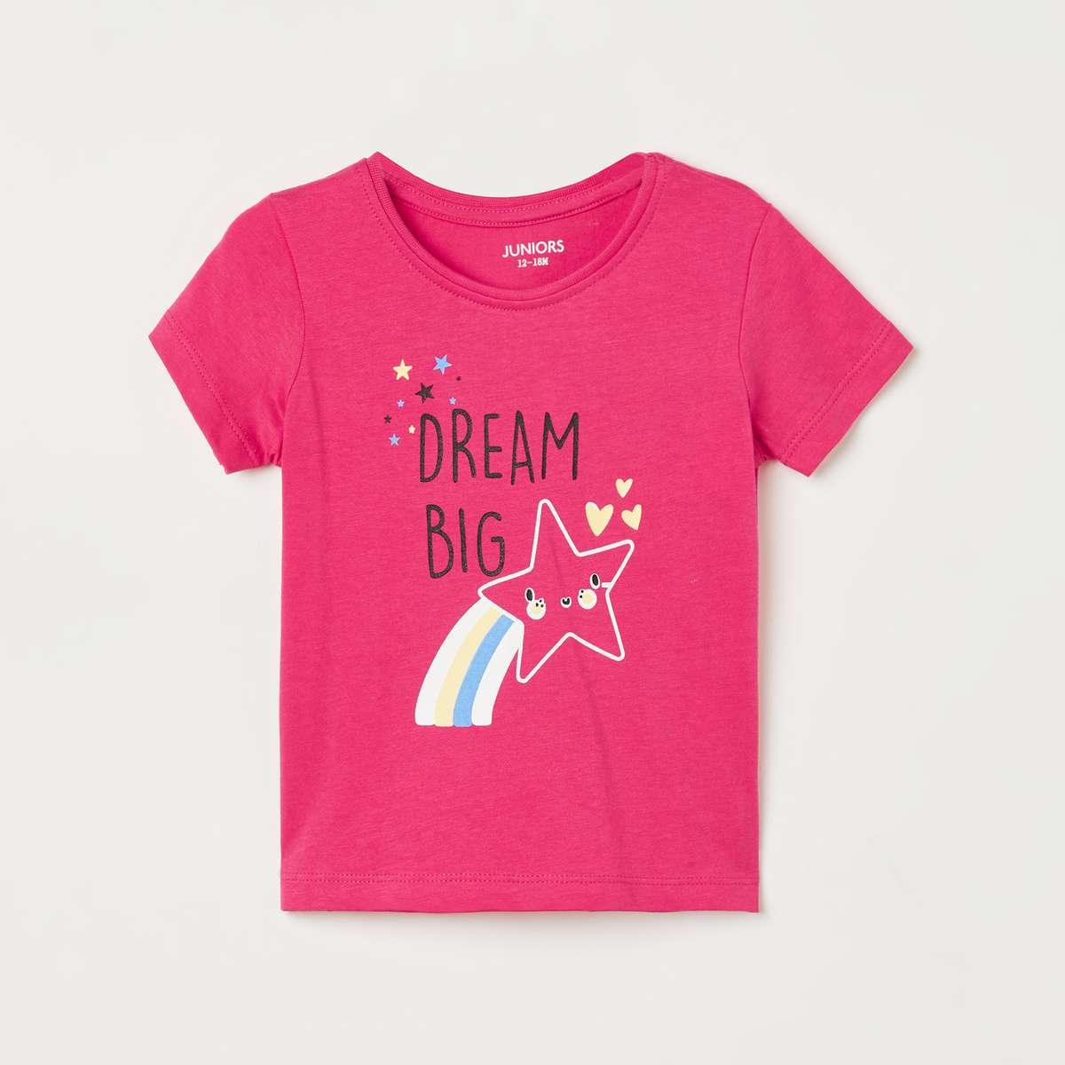 4.JUNIORS Girls Printed Round Neck T-shirt