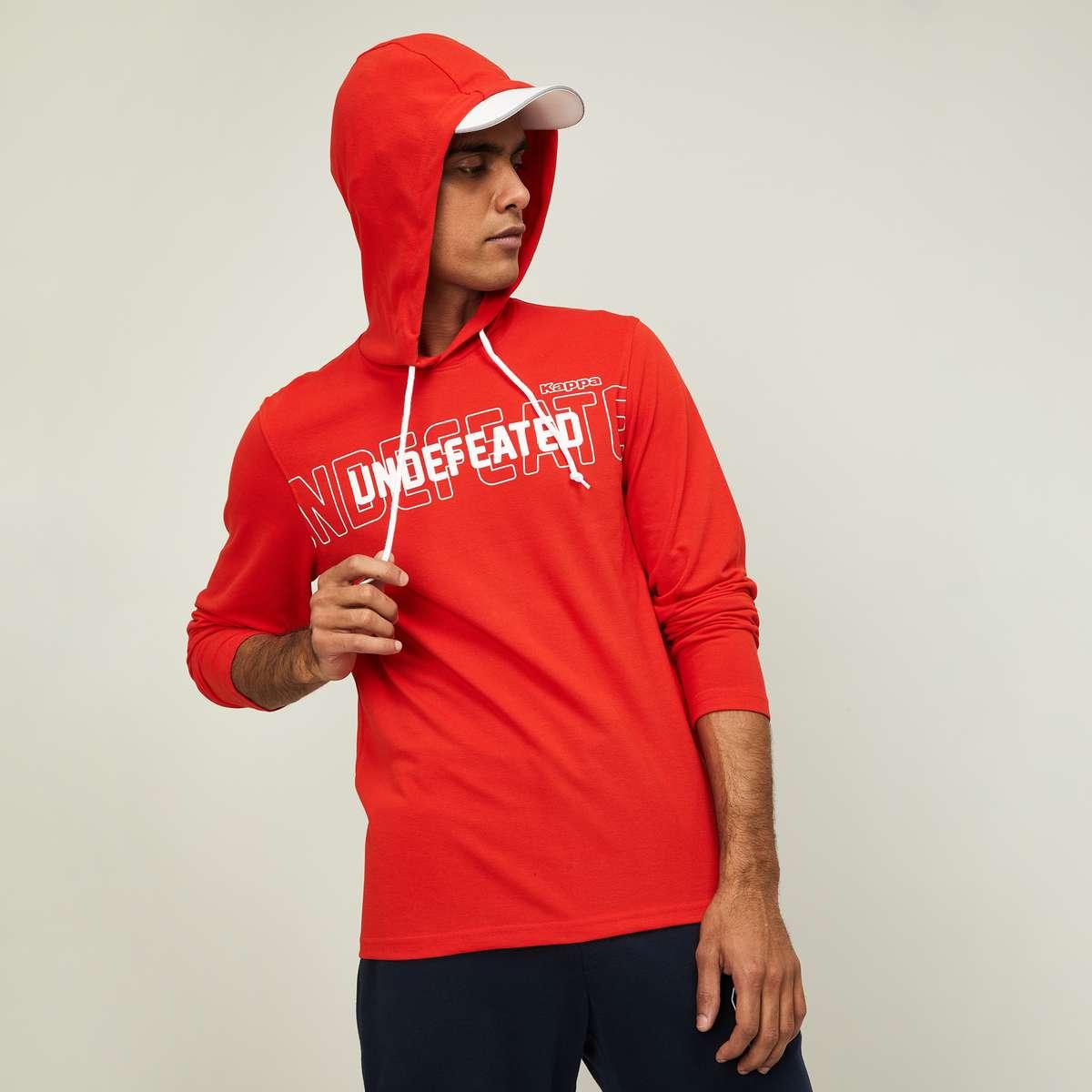 4.KAPPA Men Printed Hooded Sweatshirt